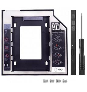 """Θήκη σκληρού δίσκου Slim για DVDROM LAPTOP HDD & SSD 2.5"""" 9.5mm HDD Caddy Sata 2.5"""" + ΔΩΡΟ ΚΑΤΣΑΒΙΔΙ"""
